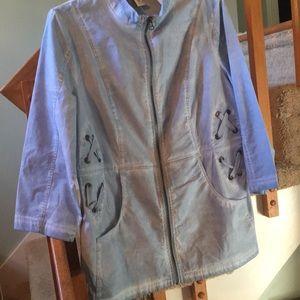 Chico's distressed cotton denim jacket